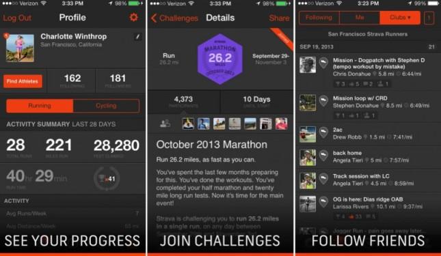 Detalhe da aplicação móvel do Strava